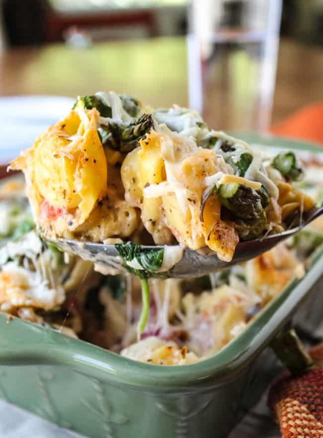 Easy Cheesy Asparagus Tortellini Bake