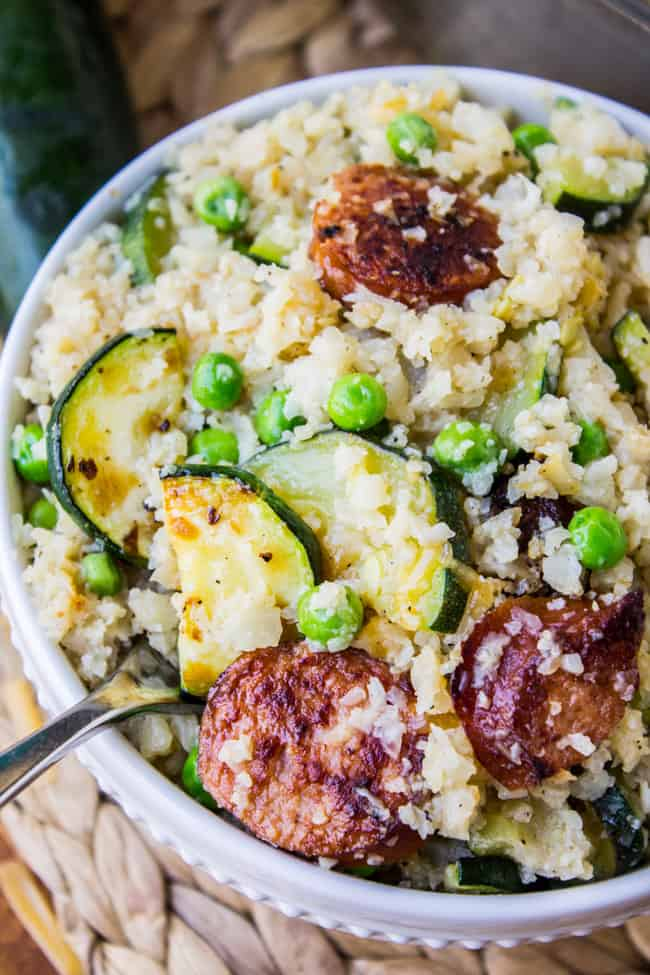Cauliflower Rice Skillet with Zucchini and Kielbasa from The Food Charlatan