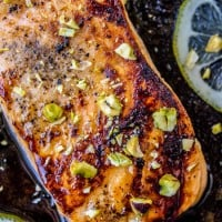 Pan-Seared Salmon with Maple Glaze and Pistachios