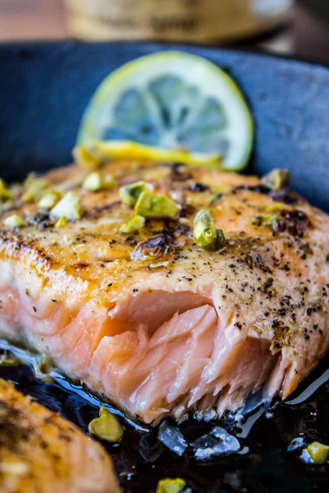 Pan-Seared Salmon with Maple Glaze and Pistachios from The Food Charlatan