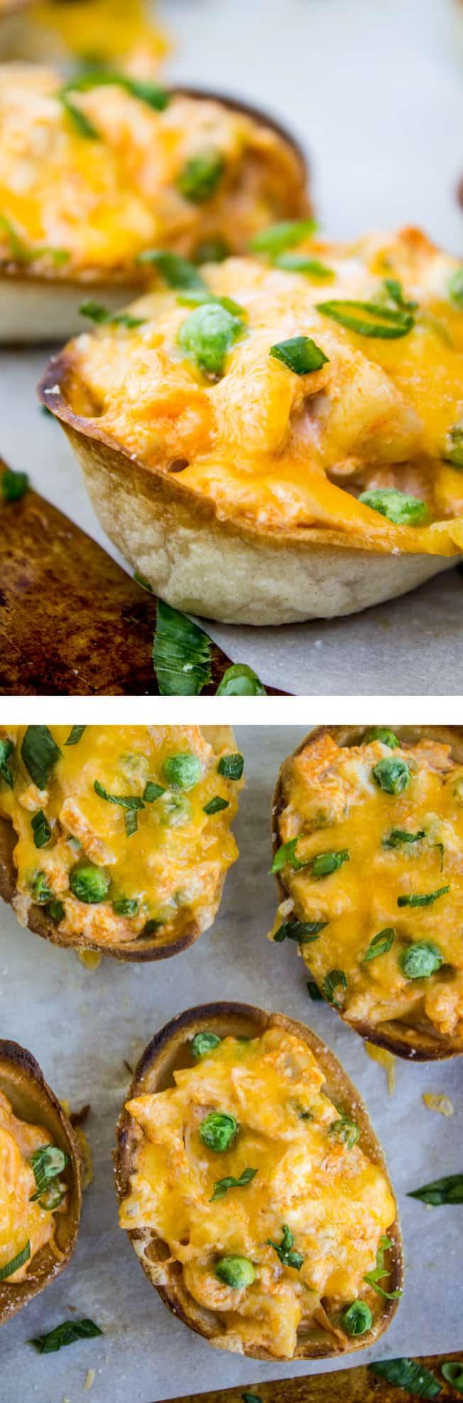 cheesy buffalo chicken boats - the food charlatan