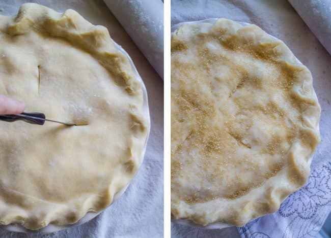Cutting the slit in the top layer of crust