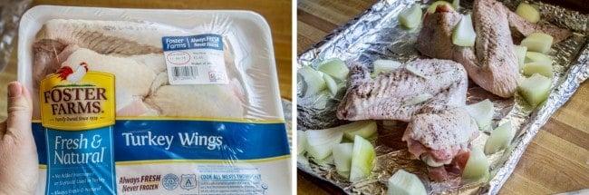 Turkey wings & veggies on roasting pan