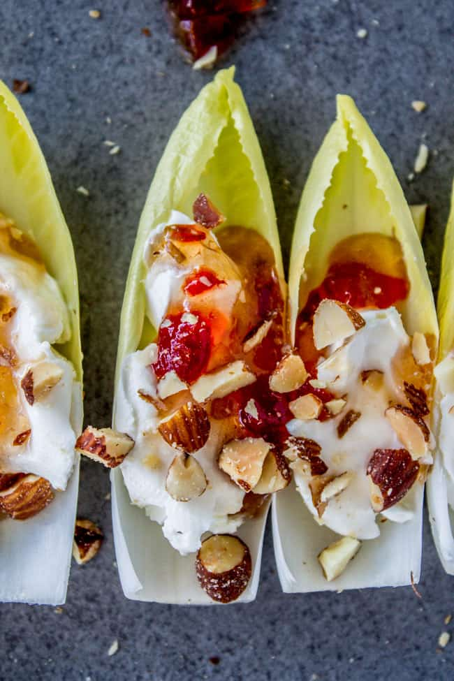 Smokey Almond Cream Cheese Endive Bites from The Food Charlatan