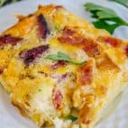 Cheesy Overnight Bacon and Egg Breakfast Casserole from The Food Charlatan