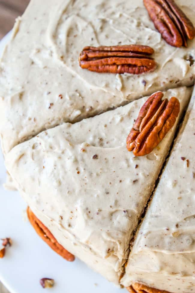 Sliced Carrot Cake with maple frosting