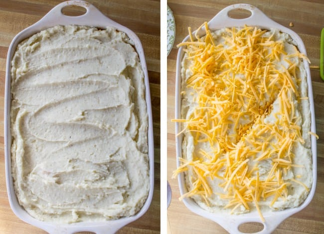 adding cheesy topping to sheppard's pie