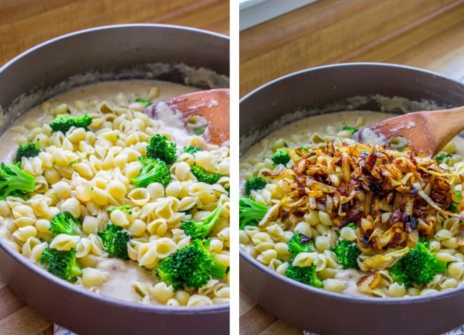Mac and Cheese with Caramelized Onions and Broccoli from The Food Charlatan
