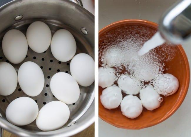 huevos rellenos de tocino confitado