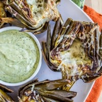 Garlic Roasted Artichokes with Pesto Dipping Sauce