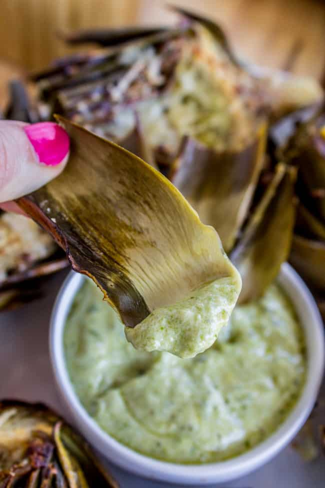 Garlic Roasted Artichokes with Pesto Dipping Sauce from The Food Charlatan