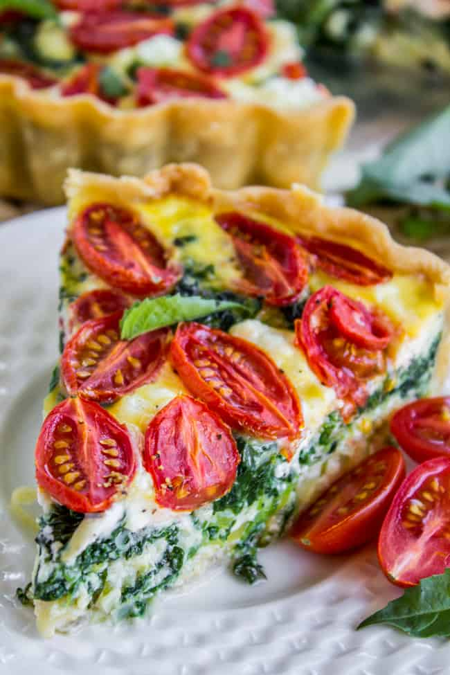 Cherry Tomato, Leek, and Spinach Quiche from The Food Charlatan