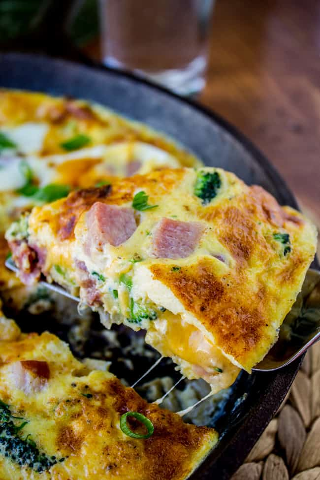 Cheesy Ham and Broccoli Frittata from The Food Charlatan