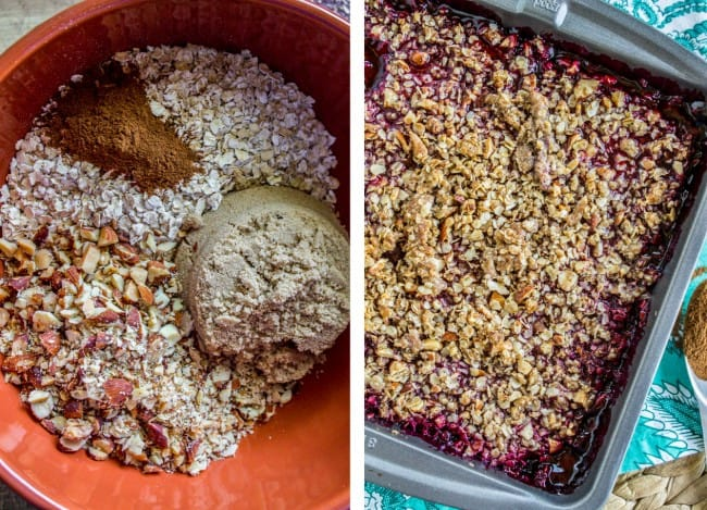 Creating the almond oat crunch topping for blackberry cobbler