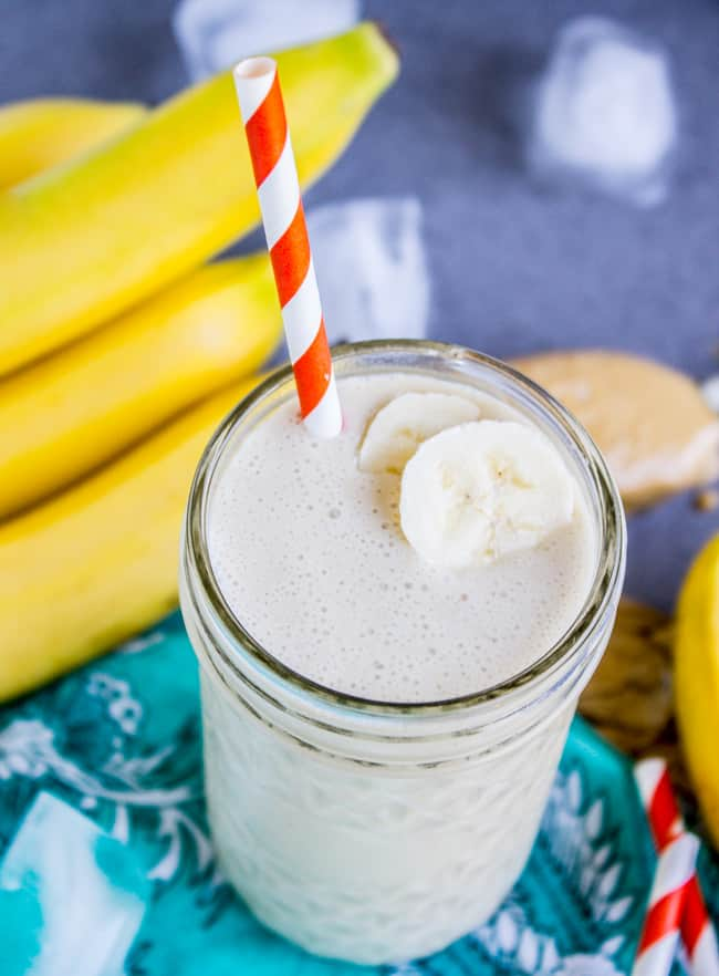 Peanut Butter Banana Smoothie (4 Ingredients!) from The Food Charlatan