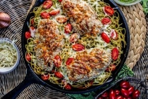 Almond-Crusted Chicken with Homemade Pesto Pasta