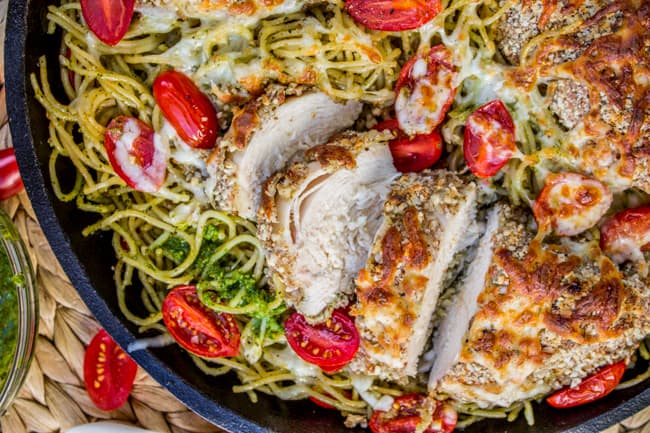 Almond-Crusted Chicken with Homemade Pesto Pasta from The Food Charlatan