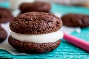 Homemade Oreos with Cream Cheese Frosting (Cake Mix Cookies)