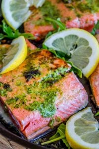20 Minute Pan-Seared Salmon with Arugula Pesto from The Food Charlatan
