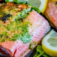 20 Minute Pan-Seared Salmon with Arugula Pesto