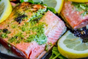 20 Minute Pan-Seared Salmon with Arugula Pesto