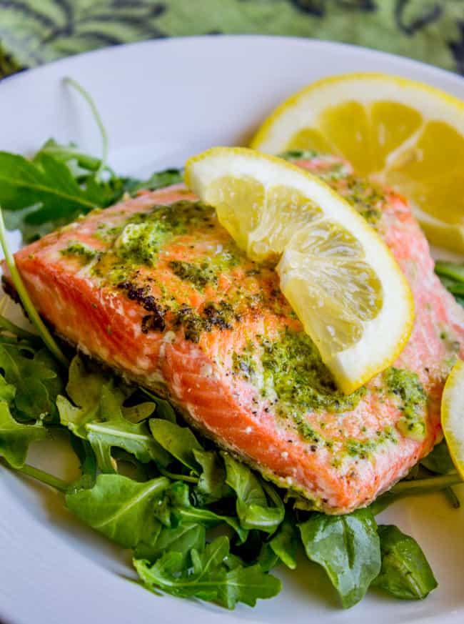 20 Minute Pan-Seared Salmon with Arugula Pesto from The Food Charlatan