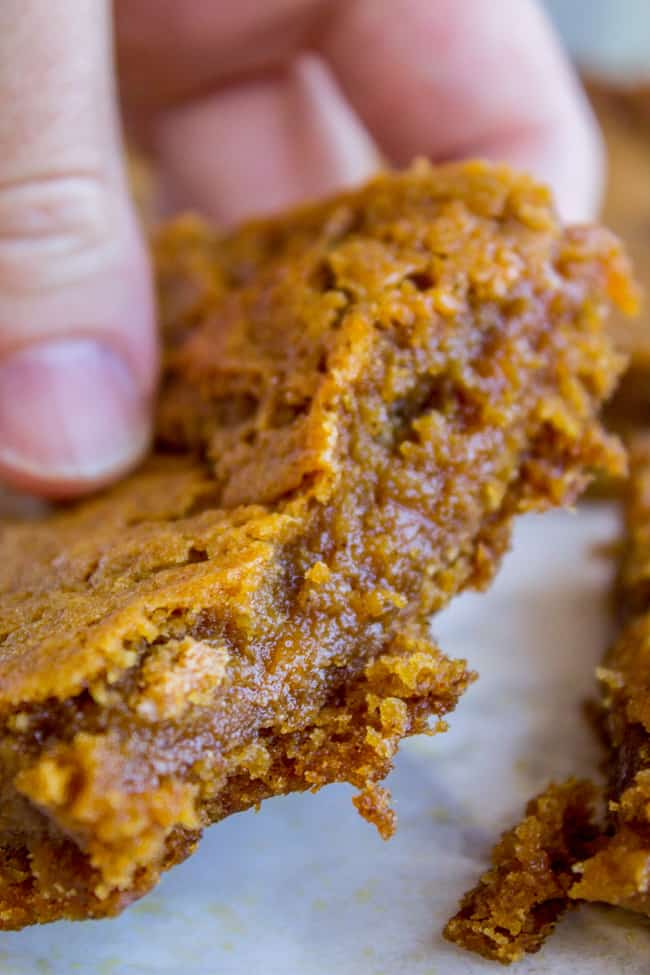 Fudgy Pumpkin Caramel Swirl Bars from The Food Charlatan