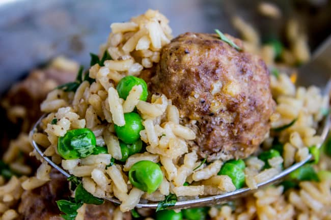 One Skillet Beef Meatballs with Rice and Peas from The Food Charlatan
