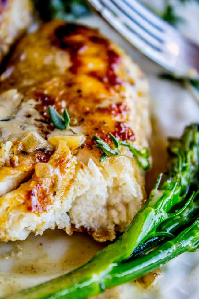 Pan-Seared Chicken and Broccolini in Creamy Mustard Sauce from The Food Charlatan