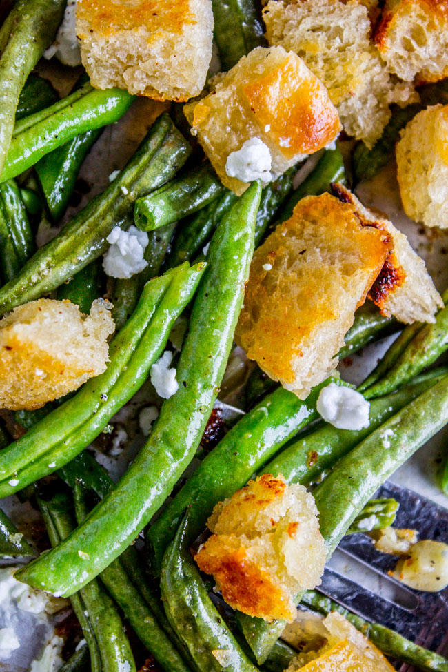 Roasted Garlic Green Beans with Fried Sourdough from The Food Charlatan