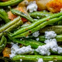 Roasted Garlic Green Beans with Fried Sourdough
