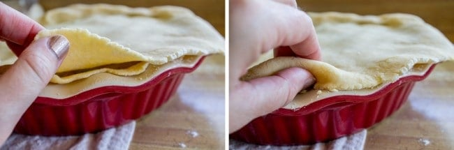 folding edge of pie dough under itself to flute