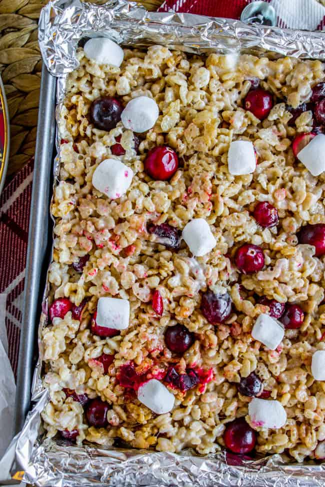 Cranberry Brown Butter Rice Krispie Treats from The Food Charlatan