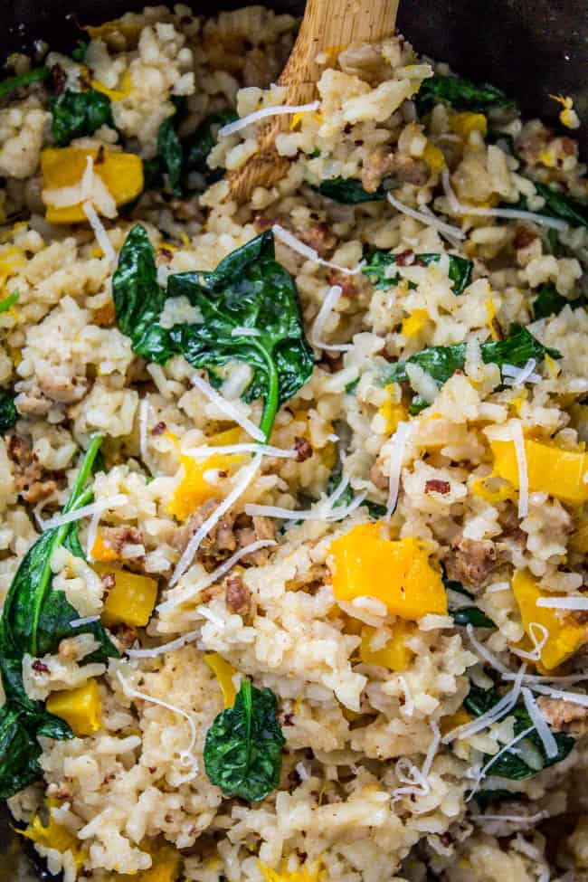 Slow Cooker Risotto with Italian Sausage and Butternut Squash from The Food Charlatan