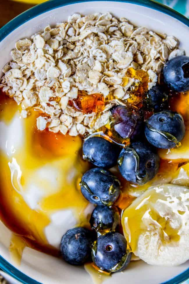 Make-Ahead Banana Blueberry Overnight Oats with Honey from The Food Charlatan