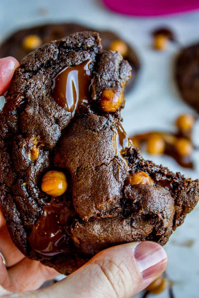 Double Chocolate Cookies with Caramel Bits from The Food Charlatan