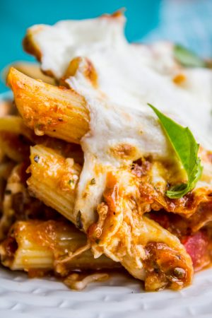 Extra Cheesy Penne and Mozzarella Casserole from The Food Charlatan