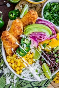 Beer-Battered-Fish Burrito Bowl with Orange Avocado Salsa from The Food Charlatan
