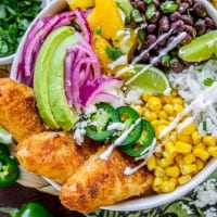 Beer-Battered-Fish Burrito Bowl with Orange Avocado Salsa