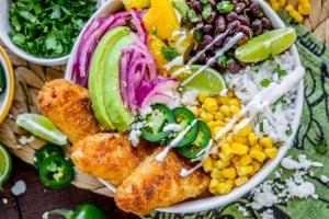Beer-Battered-Fish Burrito Bowl with Orange Avocado Salsa