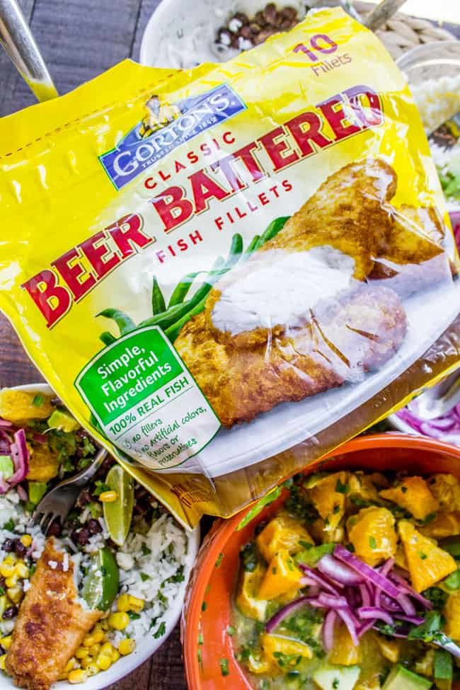 Beer-Battered-Fish Burrito Bowl with Orange Avocado Salsa from The Food Charlatan