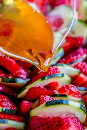 Strawberry Cucumber Salad with Honey Balsamic Dressing from The Food Charlatan