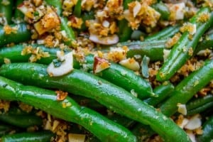 Make Ahead Green Beans with Garlic Bread Crumbs and Almonds