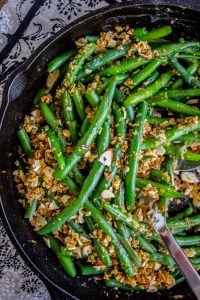 Make Ahead Green Beans with Garlic Bread Crumbs and Almonds from The Food Charlatan