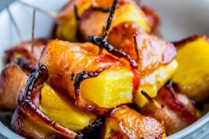 Bacon Wrapped Pineapple with Honey Chipotle Glaze