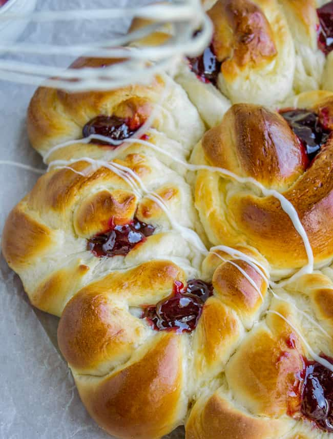Raspberry Pull-Apart Buns with Coconut Glaze from The Food Charlatan