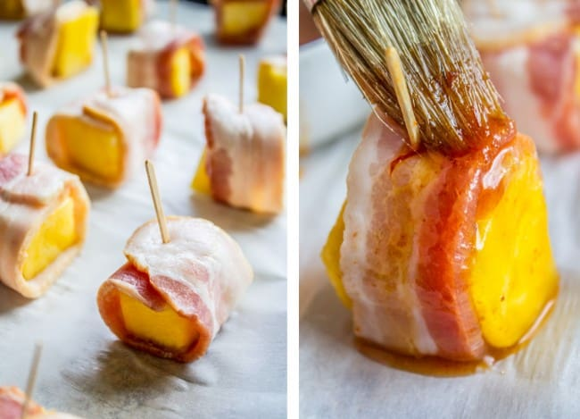 Bacon Wrapped Pineapple with Honey Chipotle Glaze from The Food Charlatan