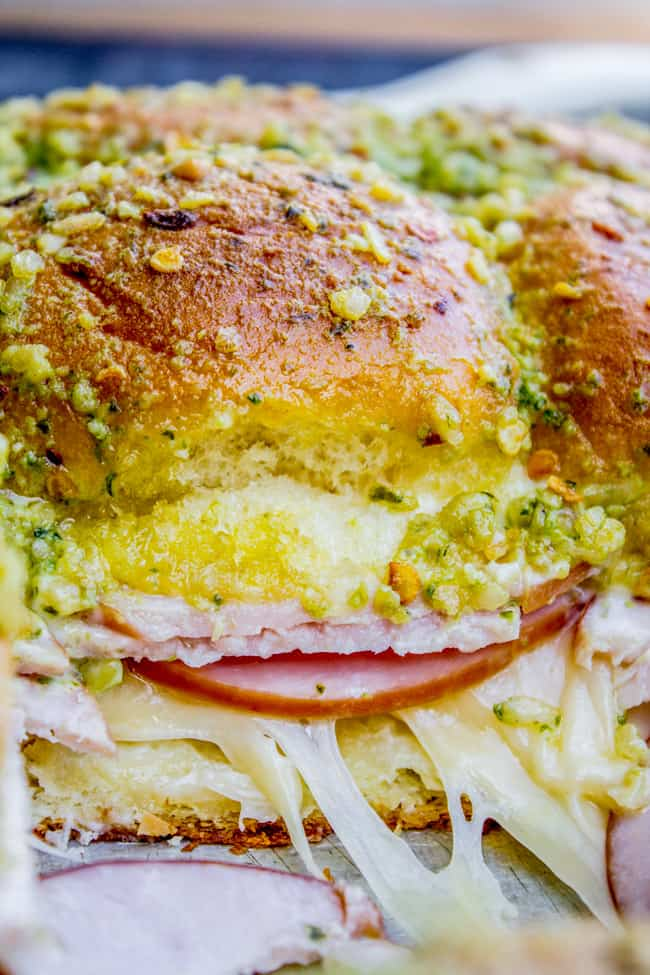 Canadian Bacon and Havarti Cheese Sliders with Pesto Glaze from The Food Charlatan