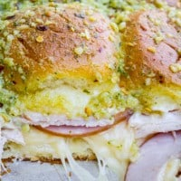 Canadian Bacon and Havarti Cheese Sliders with Pesto Glaze