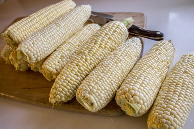 Prepping corn on the cob